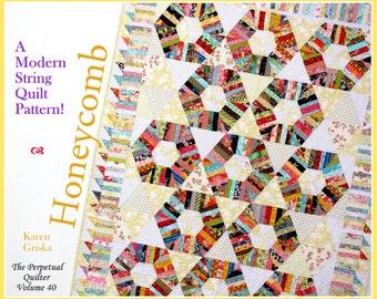 Honeycomb Quilt Pattern, String quilt pattern, Modern quilt pattern, Twin quilt pattern, Instant Download, qtm