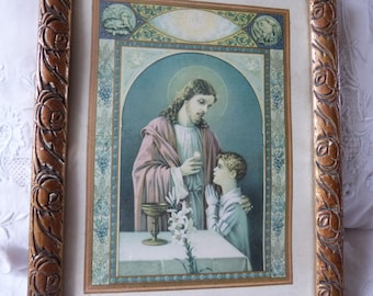 Religious frame w first communion lithographic print Jesus Christ w IHS, lamb, pelican, angels, French religious framed art w wooden frame