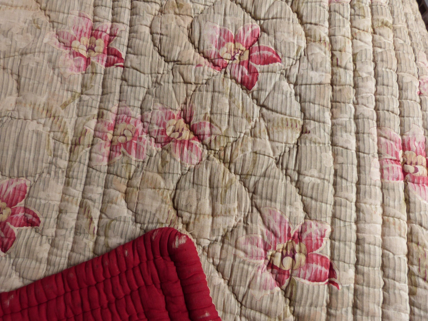 Antique French Quilted Quilt Boutis Bedspread Comforter Wool