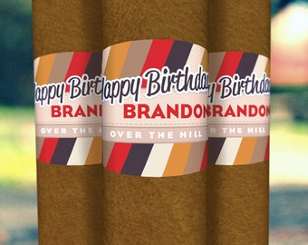 30th Birthday Cigar Bands - 16 Custom Printed Labels - Striped Crest