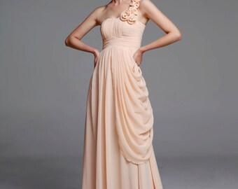 On Sale Size XXS Champagne Wedding dress , Silk Chiffon party dress, Champagne bridesmaid dress, floor length formal dress - NC516-3