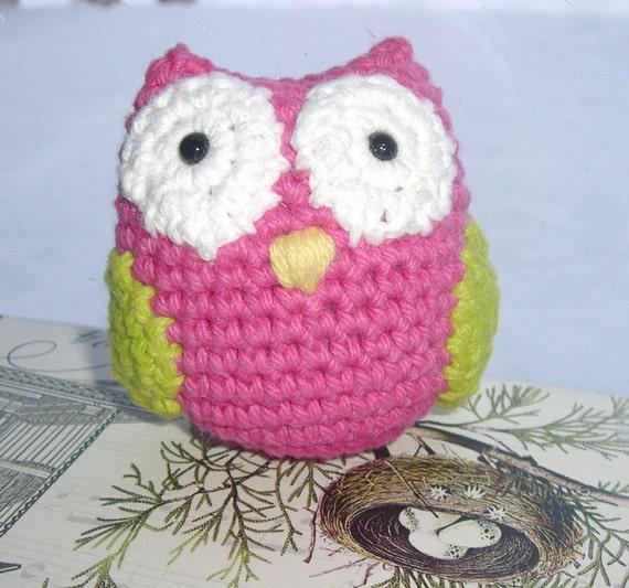 Amigurumi Owl Wings : Amigurumi owl crochet owl stuffed animal pink green