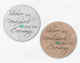 Shower the Newlyweds Wedding Favor Stickers - Mint Custom White Or Kraft Round Labels for Bag Seals, Envelopes (2026)
