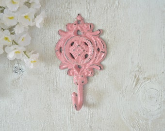 Cast Iron hook, Wall hook, Coat hook, Towel Hook, Ornate Key Hook, Pink Shabby Chic,