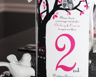 Table Number Anniversary Book Cards- (Use any design in the Shop or go Custom - Carved Birch Tree with Mason Jar & Owls Shown)