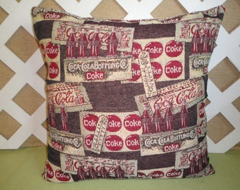 Coca-Cola Pillow Cover in Red, Cream, and Brown / Coke Pillow / Decorative Pillow / Accent Pillow