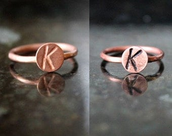 Copper initial ring, personalized ring, stamped ring, handmade initial ring, monogram ring, handmade ring, bridesmaid gift, stackable ring