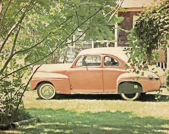 Car Print, Apricot Art Print, Classic Car Photo, Greenery Wall Art, Classic Car, Man Cave Wall Art, Greenery Man Cave, Americana