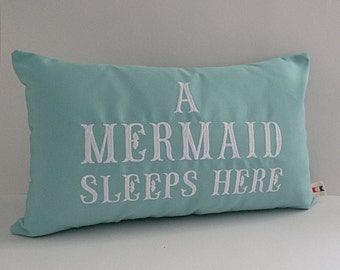 "Mermaid pillow cover A MERMAID SLEEPS HERE® 12"" x 20"" lumbar Sunbrella glacier blue mermaid decor nautical nursery beach pillow Oba Canvas"