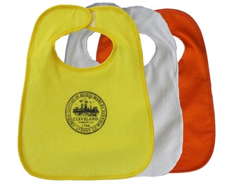 TerryCloth Bib with Cleveland City Seal Design (Yellow, White, or Orange)