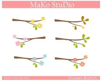FLOWER BRANCH-Digital clip art, flowers clip art, flower border clip art, instant download
