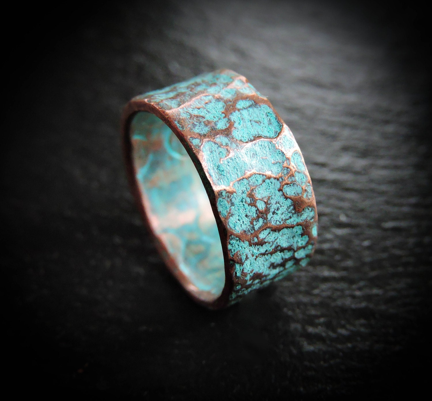 Copper Wedding Band Rustic Hammered Turquoise Patina Ring