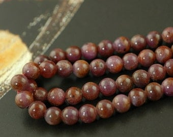 Purple Rubies: 5mm Round Beads / Organic, Natural Jewelry Making, Craft Supplies / Yoga, Zen, Silk Road