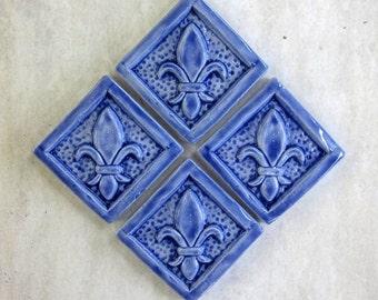 Fleur de Lis Accent tile -- 2x2 Handmade tile in French Blue, Set of 4 IN STOCK