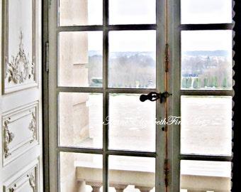 Paris Window, Fine Art Photograph, Paris Door, Balcony, Garden, Romance, Kitchen, Dorm, Versailles, Marie Antoinette, Nursery, Doorknob