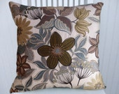 Brown Blue Floral Pillow Cover--18x18 or 20x20 or 22x22- Decorative Throw Pillow Cover--Accent Pillow Cover with Olive, Brown, Blue, Cream