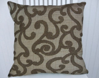 Brown Chenille Pillow Cover---18x18 or 20x20 or 22x222 Embroidered Decorative Throw Pillow