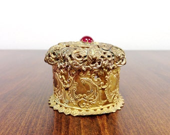 Vintage JEWELRY Box Gold Ormolu Jewelry Box - Gold Filigree Jewelry Box