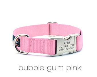Laser Engraved Personalized Buckle Webbing Dog Collar - Bubble Gum Pink