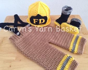 CROCHET PATTERN, 6 Month Size, Baby Firefighter Fireman Hat, Pants, Suspenders & Boots