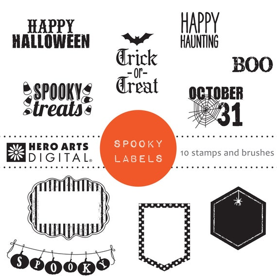Instant Download Hero Arts Spooky Labels DK110 Halloween Digital Kit