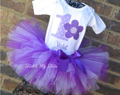 Flower Power Birthday Tutu Outfit, Flower Themed Birthday Tutu Set, Purple Flower Party Tutu Set, Purple Daisy Birthday Tutu Set