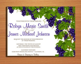 Wine / Vineyard Wedding Invitation PRINTABLE / DIY