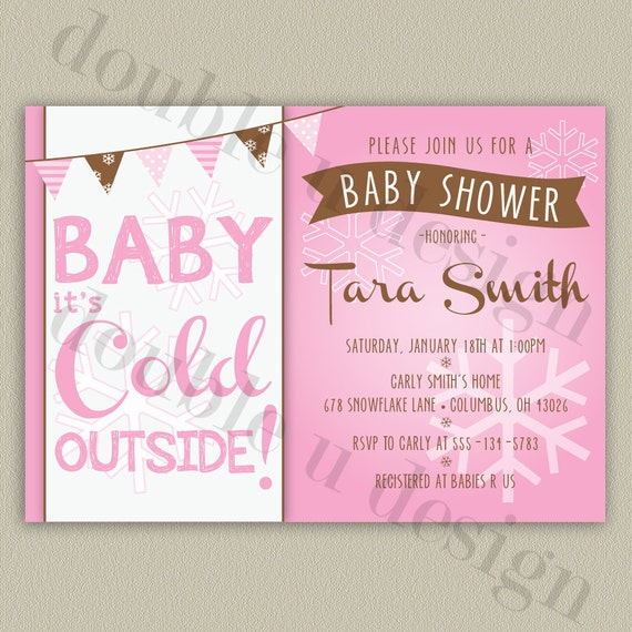 pink baby it 39 s cold outside printable baby shower invitation with