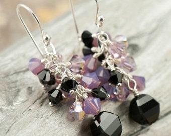 Black & Purple Earrings   Sterling Silver Jewelry   Dangle Cluster Swarovski Elements
