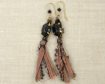 Silk Earrings, Red Black Earrings, Textile Earrings, Sari Silk Jewelry Vintage Black Jewel Dangle Recycled Earrings
