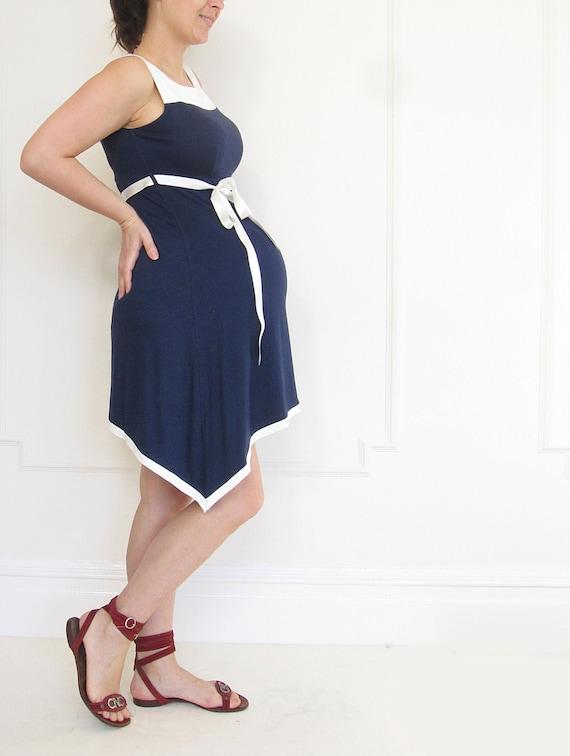 Maternity Summer Navy Blue Midi Dress Future moms Summer