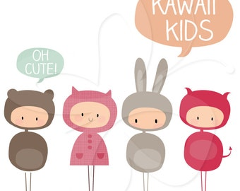 Kawaii Kids Clip Art Clipart Set - Personal and Commercial Use