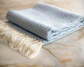 New Silk Turkish Towel, Special Pestemal, Fouta, Bath Towel, Beach Towel, Blue