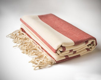 Istanbul Peshtemal, Red Turkish Towel, Striped, Fouta / Roman Bath