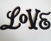 Love Banner Garland Black German Glass Glitter Handmade Decoration Decor Wedding Decor, Shabby Chic, Cottage Chic