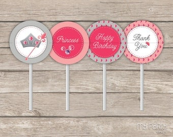 Princess Party - Cupcake Toppers - Party Circles - Pink and Grey - INSTANT DOWNLOAD - Printable PDF