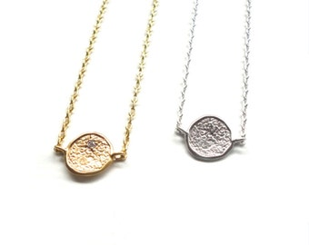 Simple Charm Necklace - Dainty Silver or Gold Jewelry with Tiny CZ stone