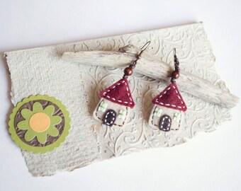 Tiny house felt earrings, felt house earrings, little house jewelry