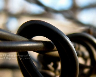 Barbed Wire Photo, Industrial Art, Miksang Photography, Industrial Photography, Bronze Metal, Fine Art Photography, 4 x 8 Print