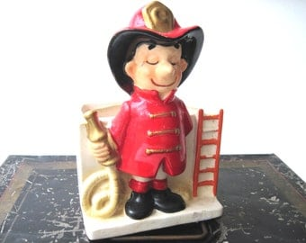 Vintage fireman planter pencil cupred black and white fire chief