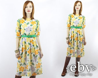 Vintage 70s Sheer Floral Dress XS S Hippie Dress Hippy Dress Boho Dress Floral Dress Day Dress Summer Dress Babydoll Dress