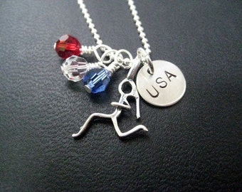 Running in the USA Sterling Silver Running Necklace with Red, White and Blue Crystals - 16, 18 or 20 inch - USA Road Race - Team USA Merica