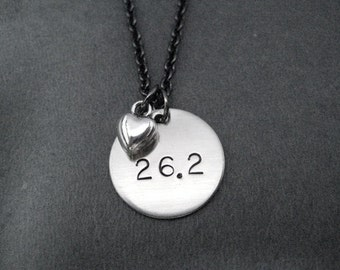 26.2 LOVE Necklace - Marathon Necklace on gunmetal chain - Running Jewelry - 26.2 Marathon Necklace - First Marathon - Heart of a Marathoner