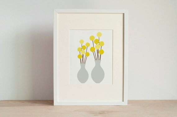 SALE - Mid Century Modern Billy Button Art Print - Yellow and Gray - 5x7, 8x10