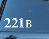 Sherlock Holmes 221B Baker Street inspired car decal