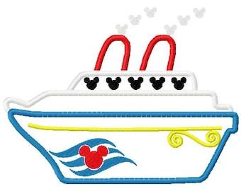 Mouse Cruise Ship applique design digital instant download