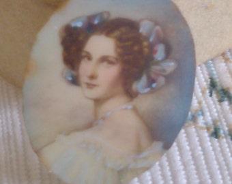 Minature Painted on Thin Piece of Old Panio Key
