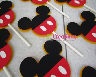 Mickey Mouse Shorts Cupcake Toppers - set of 12