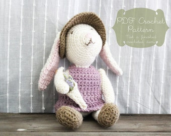 Crochet Pattern: Dilly the Rabbit - toy, bunny, birthday, baby shower, gift, doll, garden, clothes, crochet, dress, toddler, child, heirloom
