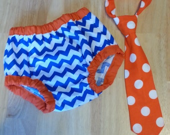 blue and orange cake smash outfit, gator birthday outfit blue chevron and orange tie diaper cover set